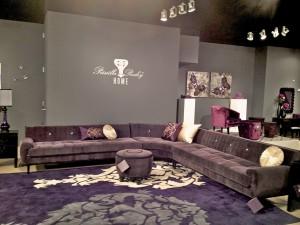 Priscilla Presley Home purple sectional sofa
