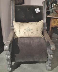 Peninsula large gray velvet chair