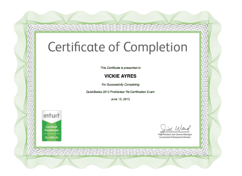 Vickie Ayres 2013 Certified QuickBooks ProAdvisor